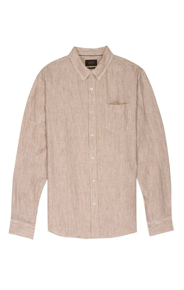 Striped Linen Button Down - Khaki