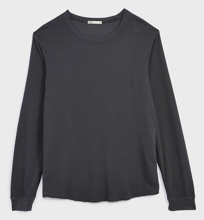 Waffle Long Sleeve Village Crew - Charcoal