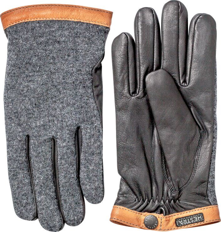 Deerskin Wool Tricot Glove - Charcoal - Black