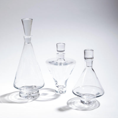 Tall Fat-Bottom Glass Decanter