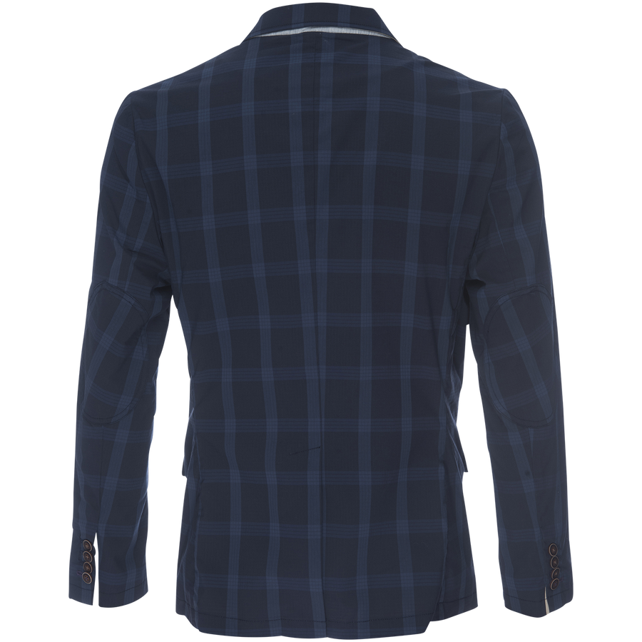 Kurt Notched Lapel Blazer in Stretch Plaid Ripstop