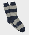Rugby Stripe Donegal Wool Sock - Ink/Silver