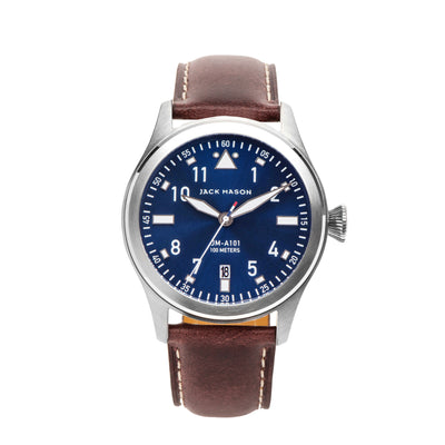 Aviation 3HSS - Navy Sunray Dial - Brown Leather Strap