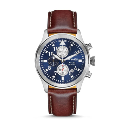 Aviation Chrono - SS Navy Sunray Dial - Brown Leather Strap