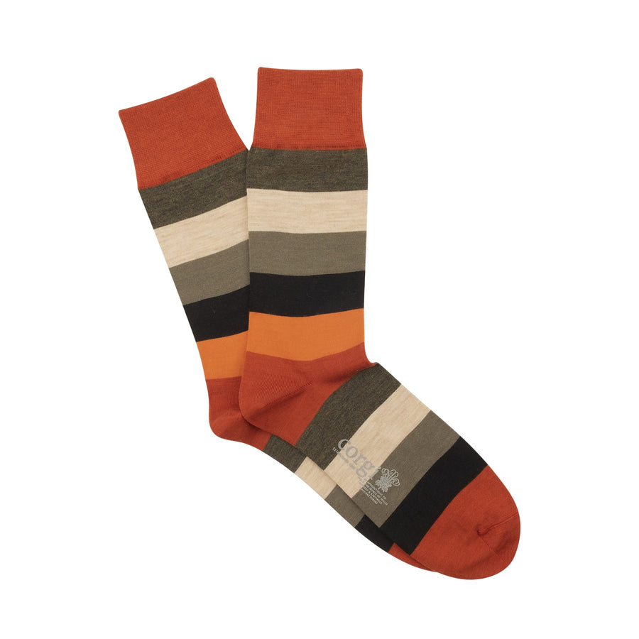 Wide Striped Merino Wool Socks - Burnt Orange
