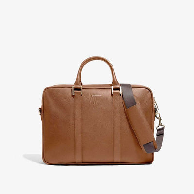 Leather Laptop Briefcase - Camel Alpine Collection