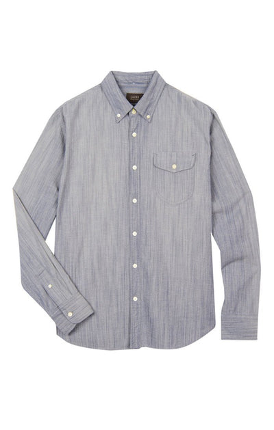 Shield Pocket Stretch Chambray Button-Up - Blue