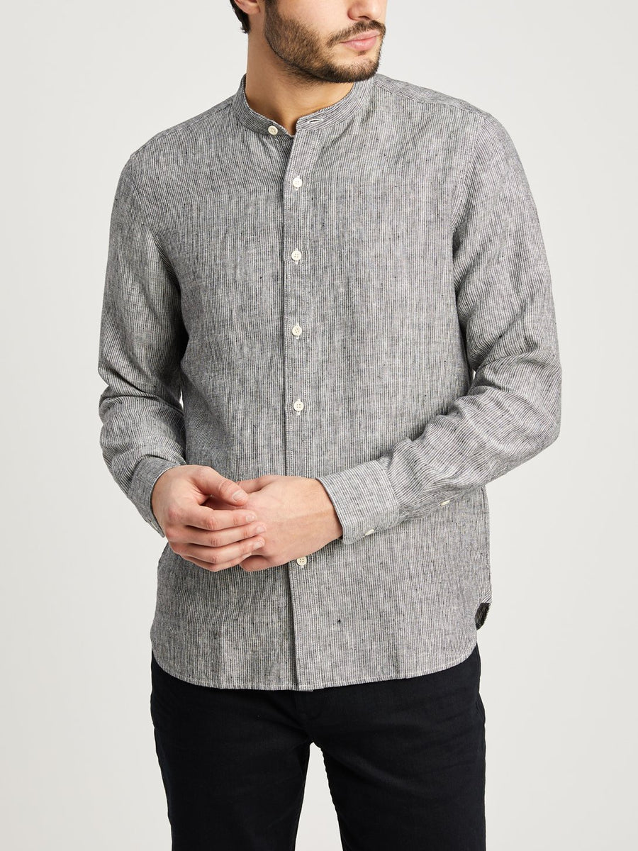 Aleks Band Collar Linen Shirt - Black Stripe