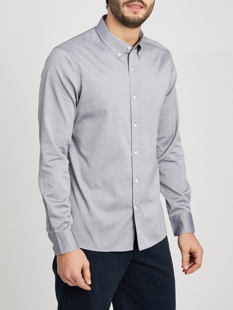 Fulton Pinpoint Oxford Shirt - Light Grey