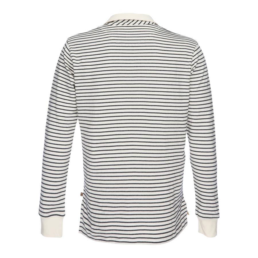 Nicholas Dobby Stripe Long Sleeve Polo - Gray/Cream