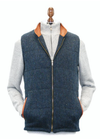 Irish Tweed Gilet w/ Leather Trim - Blue