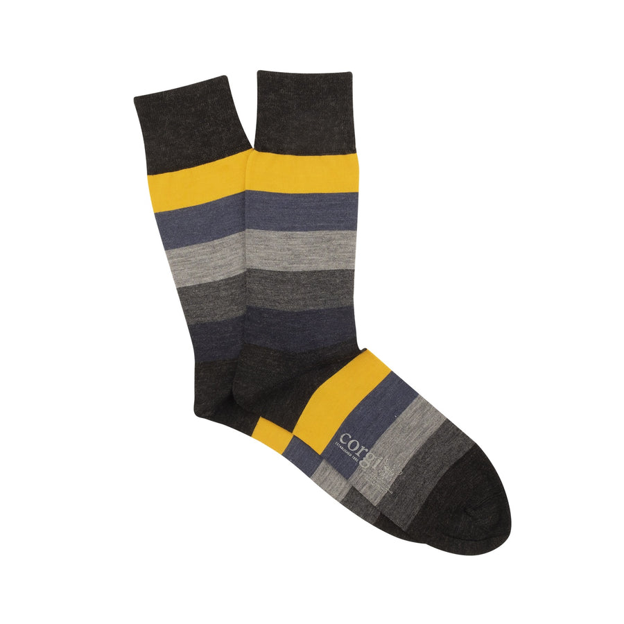 Wide Striped Merino Wool Socks - Charcoal/Ochre