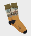 Hunt Scene Cotton Sock - Gold