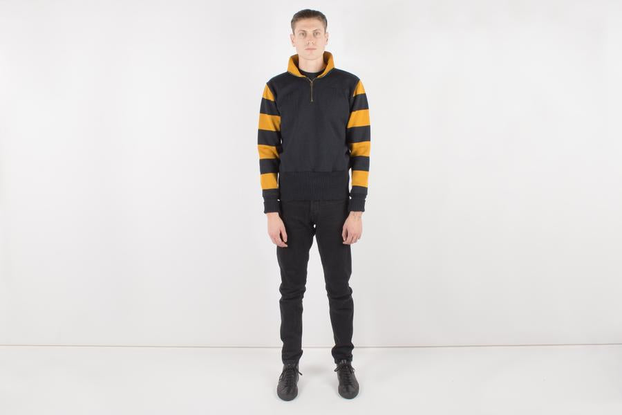 1/4 Zip Motorcycle Sweater - Black/Old Gold