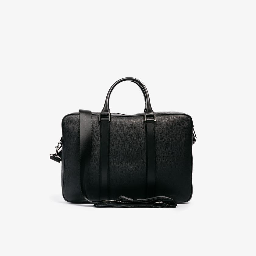 Leather Laptop Briefcase - Black