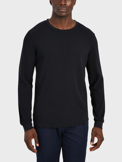 Waffle Long Sleeve Village Crew - Black