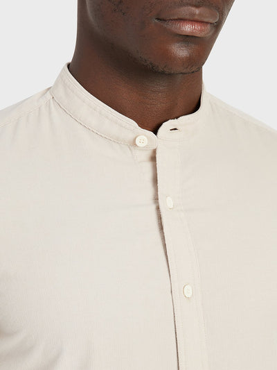 Aleks Band Collar Cord Shirt - Cement