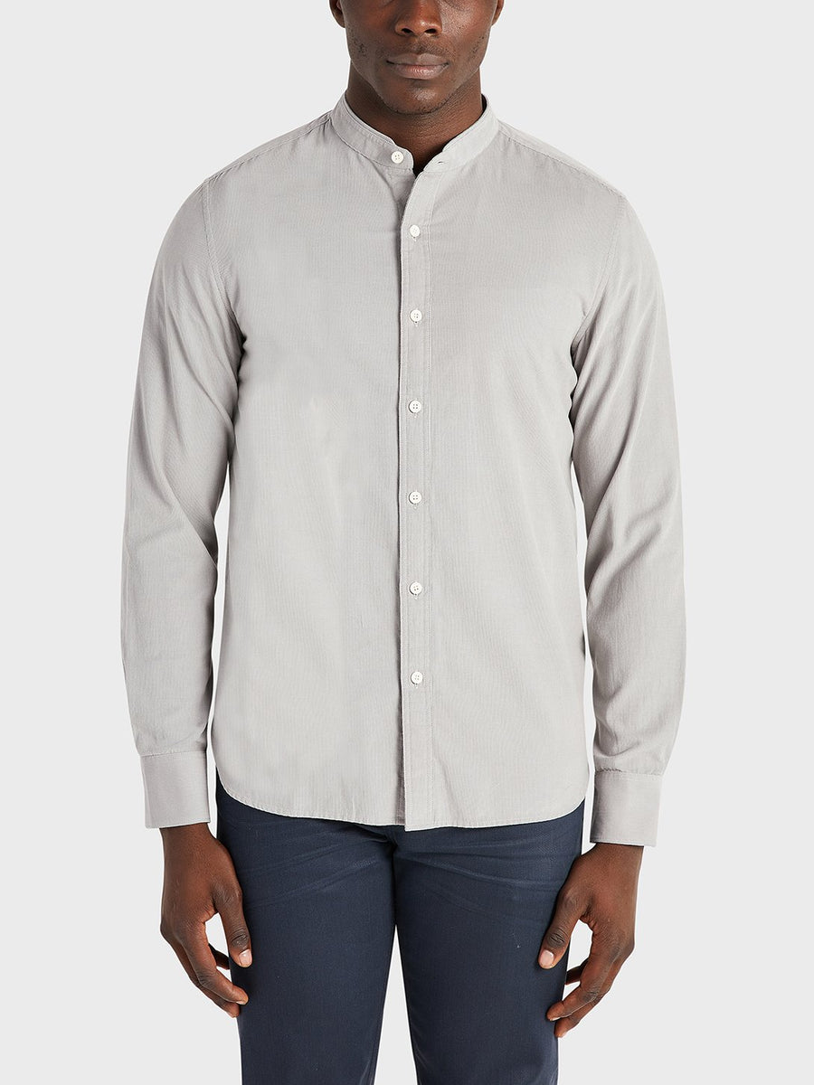 Aleks Band Collar Cord Shirt - Grey