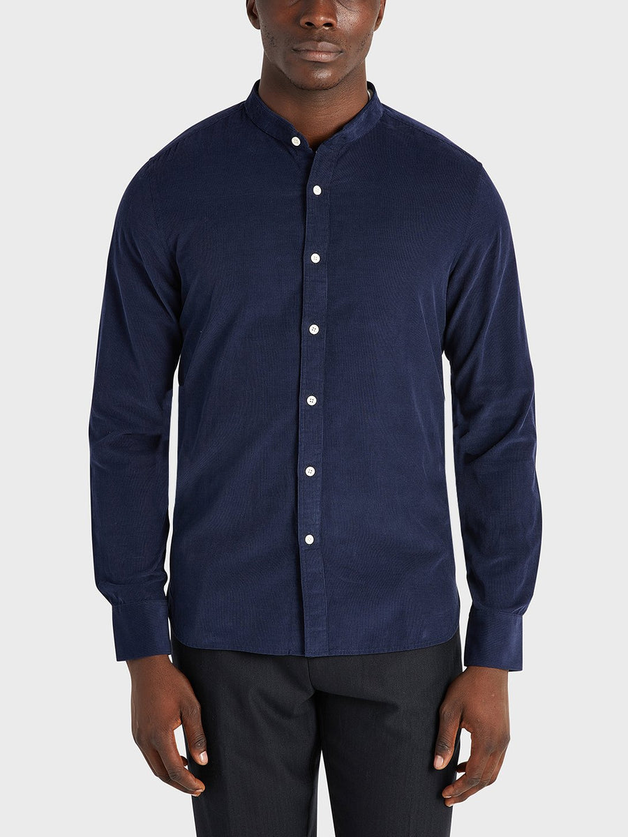 Aleks Band Collar Cord Shirt - Navy