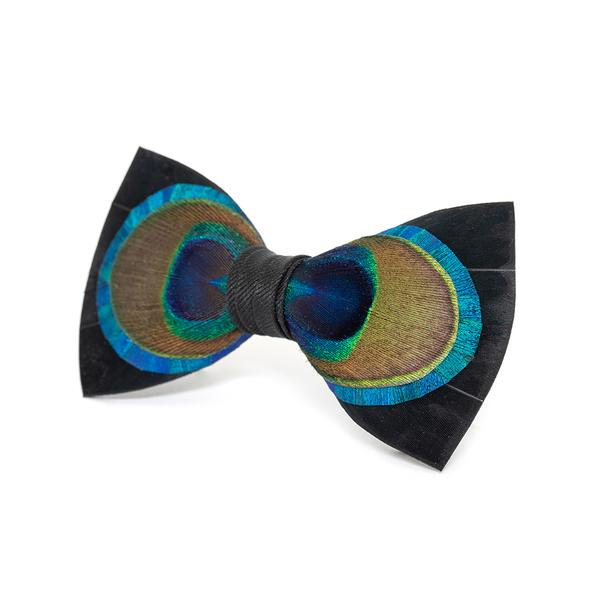 Hugo Bow Tie - Peacock & Goose Feathers