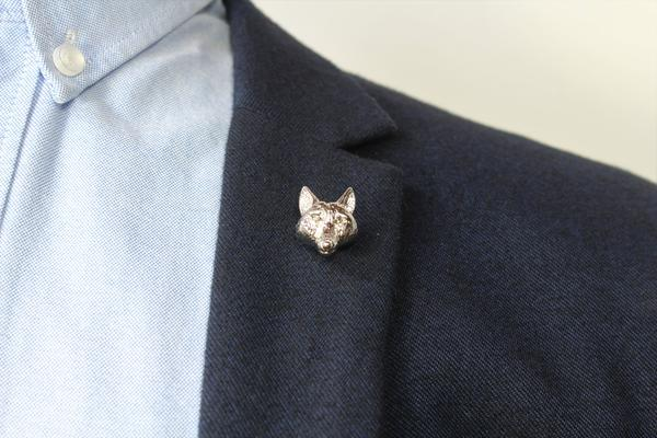 Silver Lapel Pin - Wolf Head