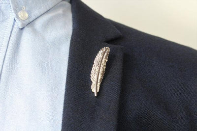 Silver Lapel Pin - Feather