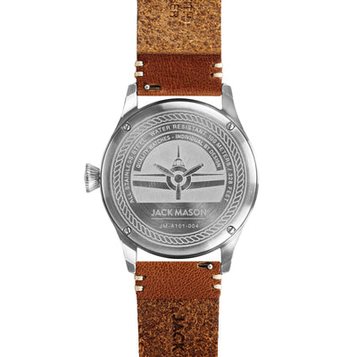 Aviation 3H SS - Navy Dial - Saddle Leather Strap