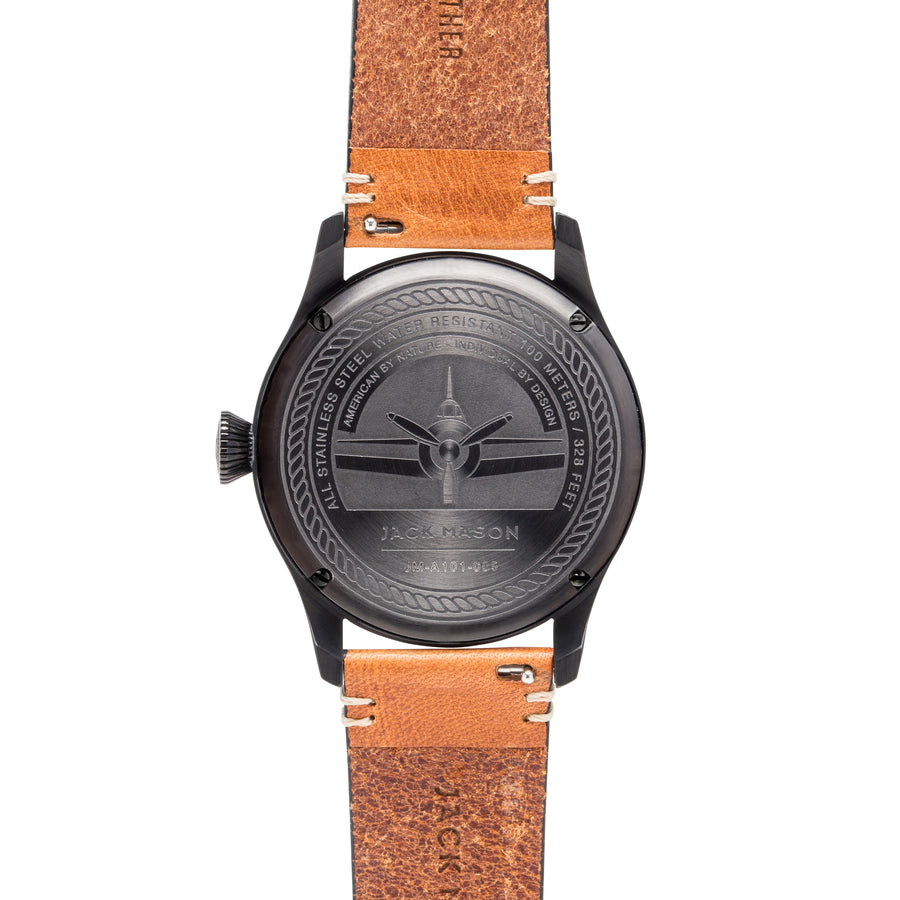 Aviation 3H PVD -  Black Dial - Tan Leather Strap