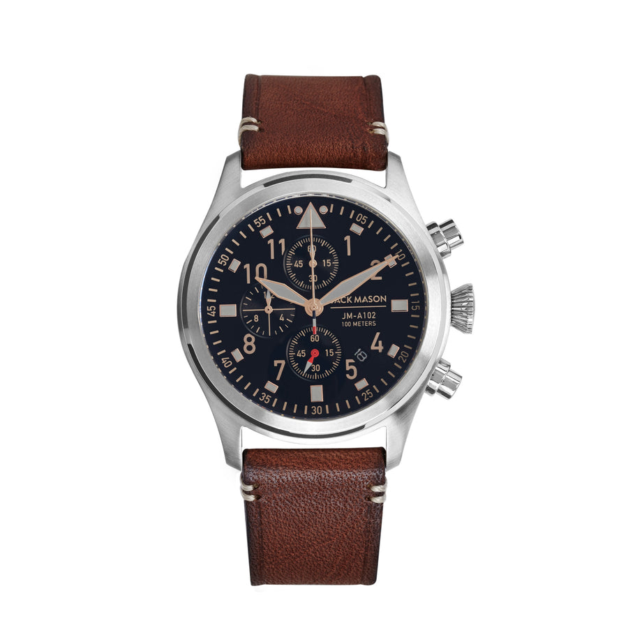 Aviation Chrono - SS Black Dial - Brown Leather Strap