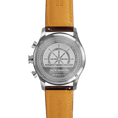 Nautical Chrono SS - Navy Dial - Brown Leather