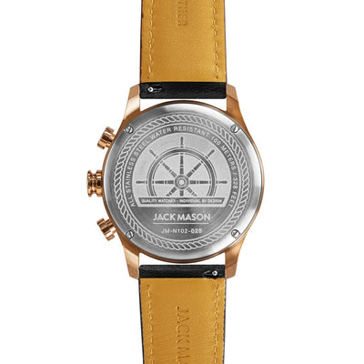 Nautical Chrono - RG Grey Dial - Black Leather Strap