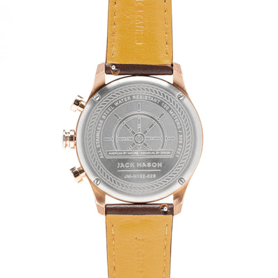 Nautical Chrono - RG Grey Dial - Brown Leather Strap