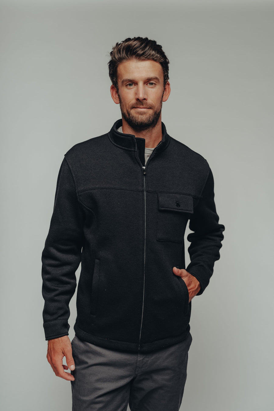 Lincoln Fleece Jacket - Black