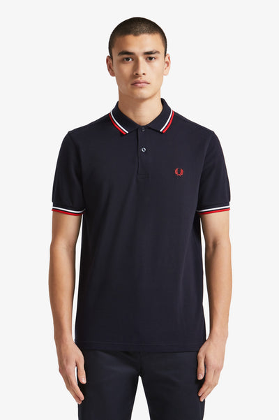 Twin Tipped Fred Perry Shirt / Navy-White-Red