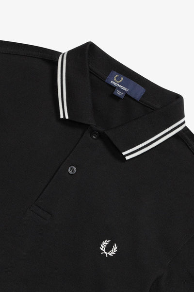Twin Tipped Fred Perry Shirt / Black-Porcelain-Porcelain