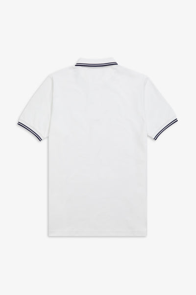 Twin Tipped Fred Perry Shirt / White-French Navy-French Navy