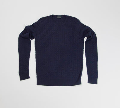 Neuxes Wool Blend Cable Knit - Navy