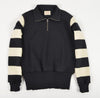 1/4 Zip Motorcycle Sweater - Black/Off White