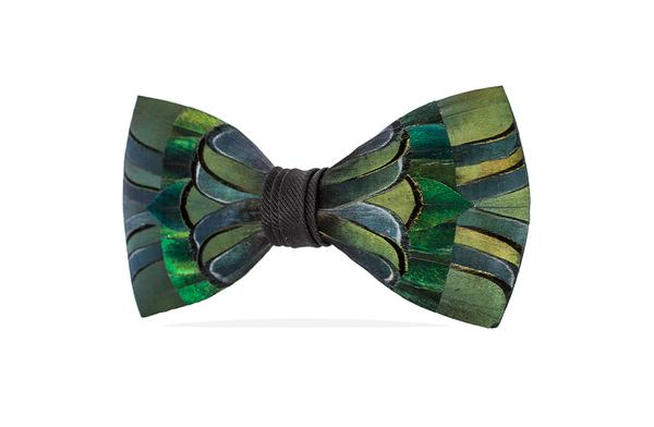 Myrna Bow Tie - Pheasant & Peacock Feathers