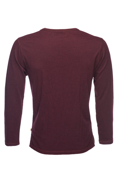 Long Sleeve Melange Slub Tee - Red