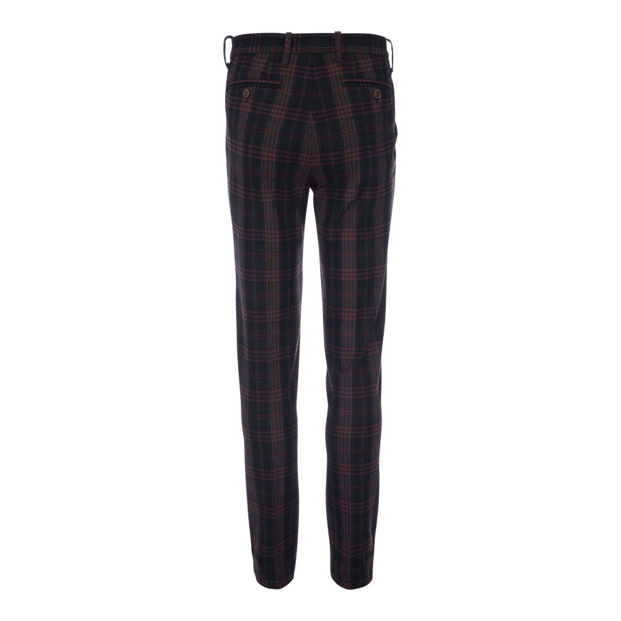Thomas Stretch Chino - Navy Plaid