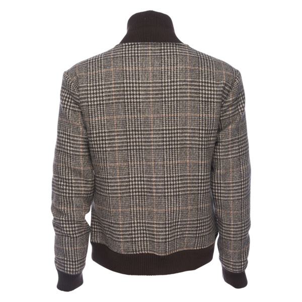 Varsity Jacket in Wool Blend - Glen Plaid