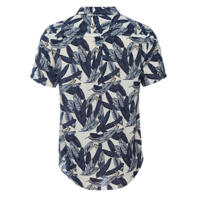 Truman Short Sleeve in Water Color Leaf - White