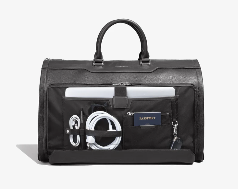 Garment Weekender Bag - Black Leather