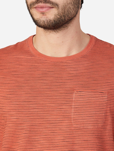 Bowery Stripe Pocket Tee - Orange