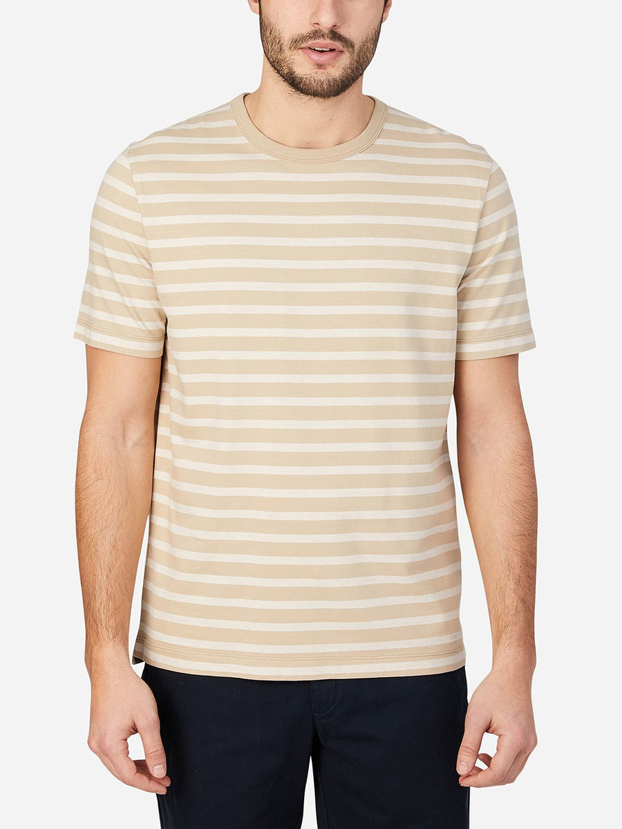 Calden Crew Neck Stripe Tee - Khaki