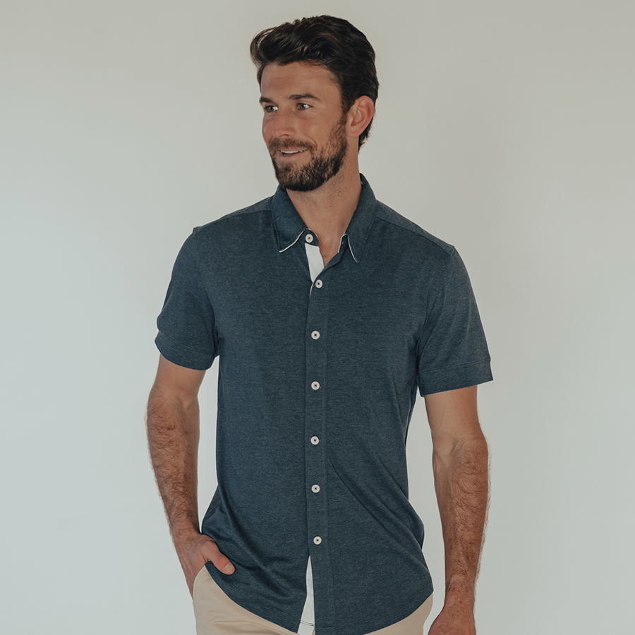 Active Puremeso Short Sleeve Button Down - Navy
