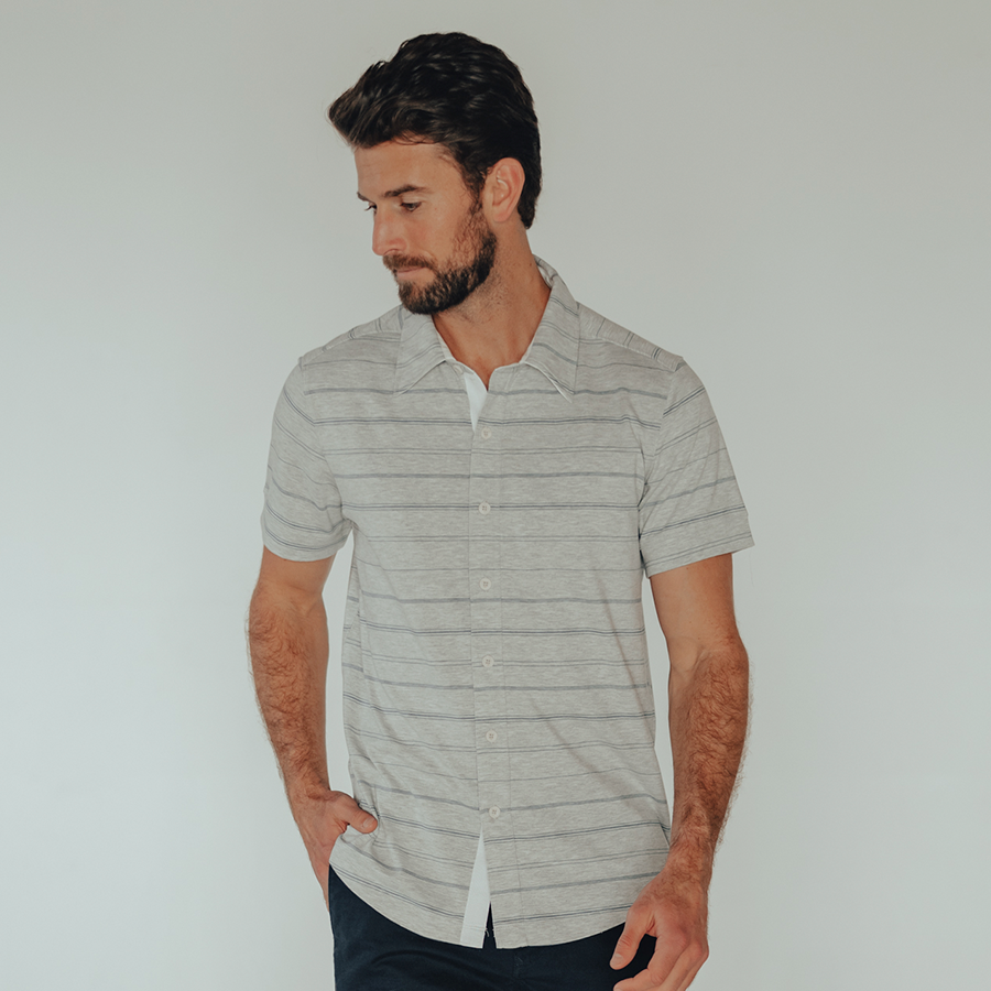 Active Puremeso Short Sleeve Button Down - Grey & Mineral Blue