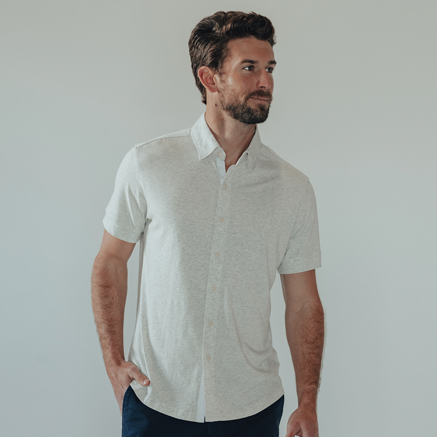Active Puremeso Short Sleeve Button Down - Stone