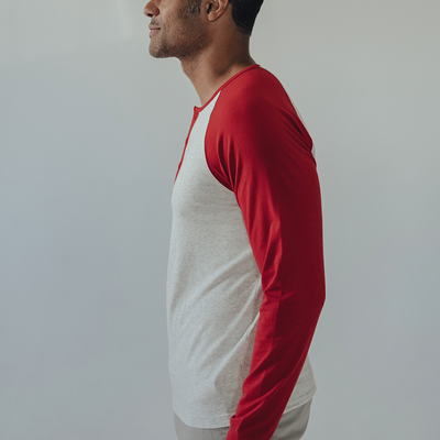 Retro Long Sleeve Henley - Red & Stone